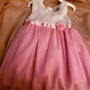 NWOT Adorable White Lace Pink sheer dress size 4T
